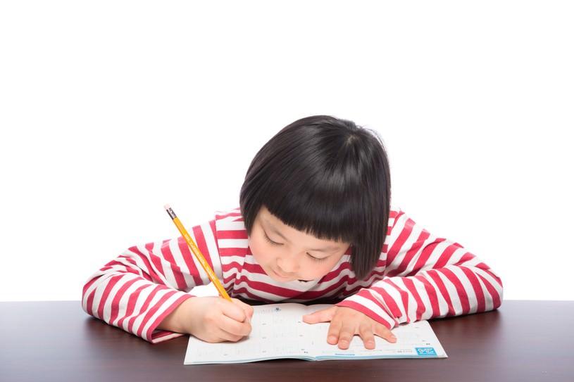 宿題をがんばる前髪パッツンの女の子
