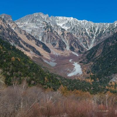 「冬の始まりを感じる上高地からみた穂高連峰」の写真素材