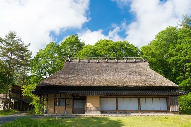 古民家と新緑(岡山県鏡野町うたたねの里)の写真