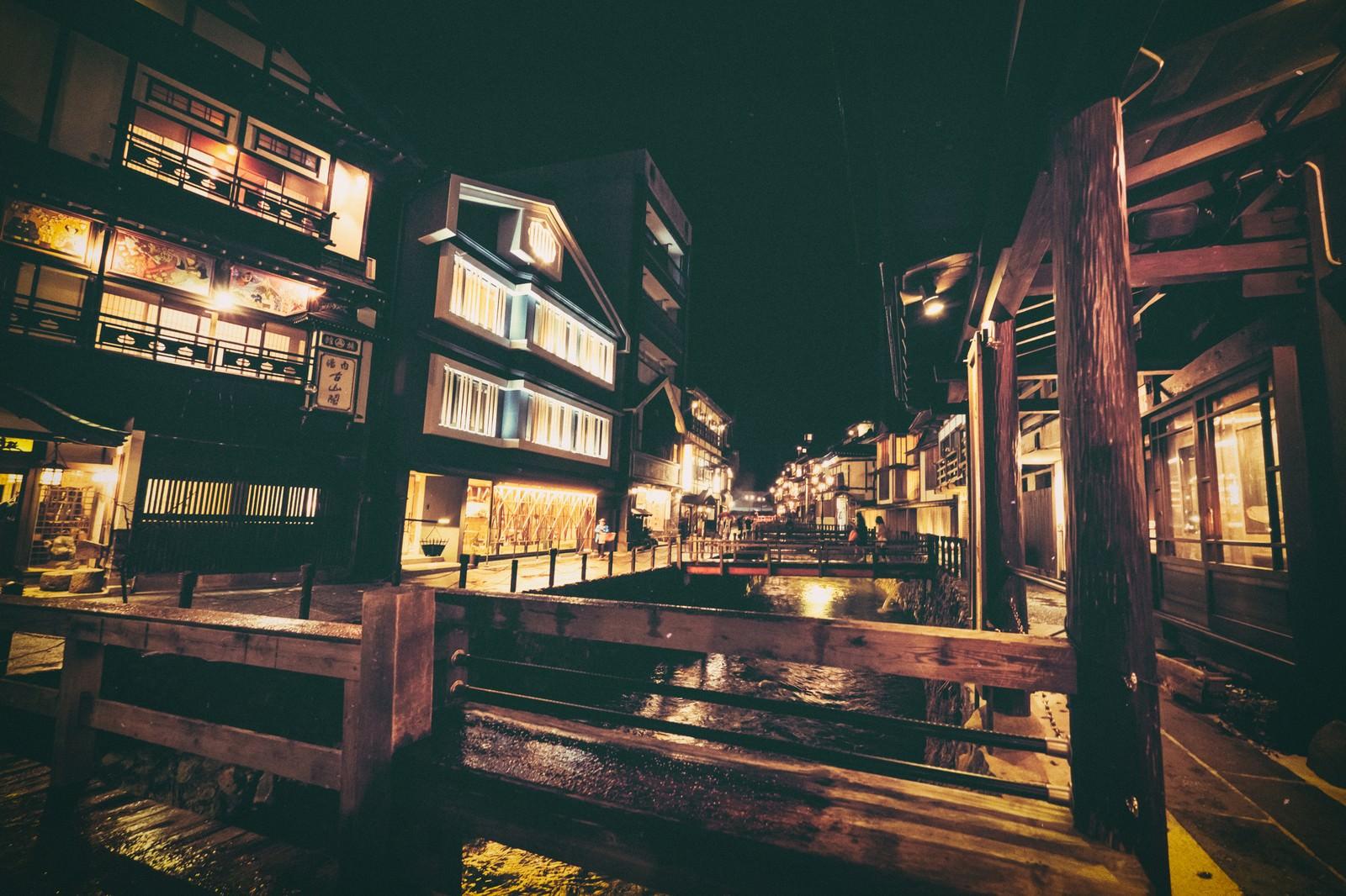 「夜間の銀山温泉街」の写真