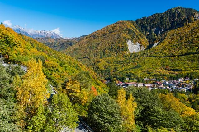 北アルプスの十字路・秋の山岳温泉郷平湯温泉の写真
