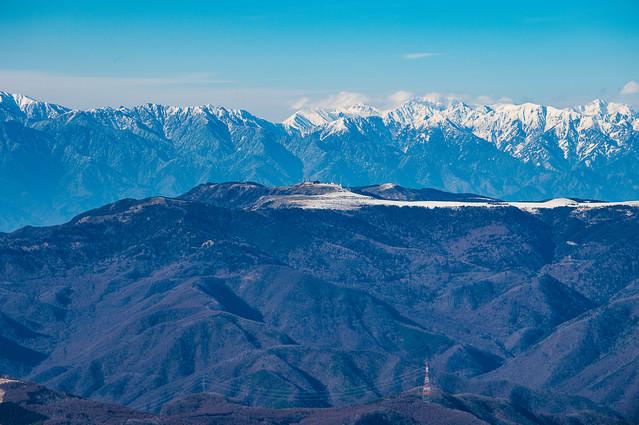 冬の美ヶ原とアルプスの写真