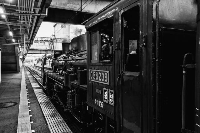 ホームに停車中の蒸気機関車(モノクロ)の写真