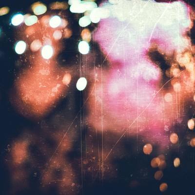 「火花散るボケ味のあるノイズ」の写真素材