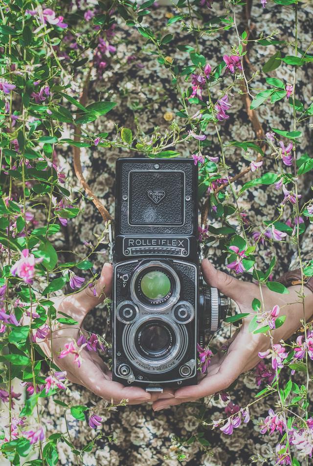 ローライフレックスのカメラを持つ女性の手の写真