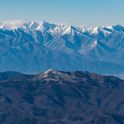 冬の蓼科山(たてしなやま)から望む霧ヶ峰と槍穂高連峰の写真