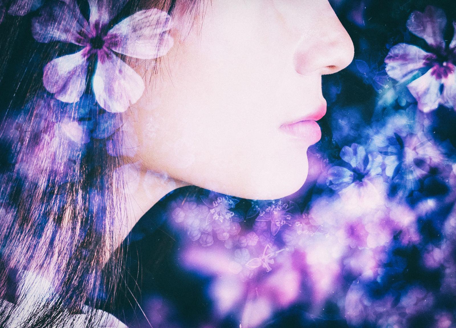 「花と女性の横顔(フォトモンタージュ)」の写真[モデル:緋真煉]
