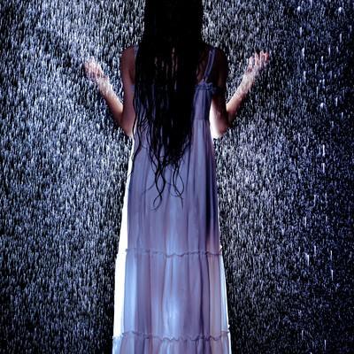 「雨に打たれる女性の後姿」の写真素材