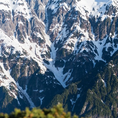 「春になっても山頂の雪深さがわかる笠ヶ岳」の写真素材