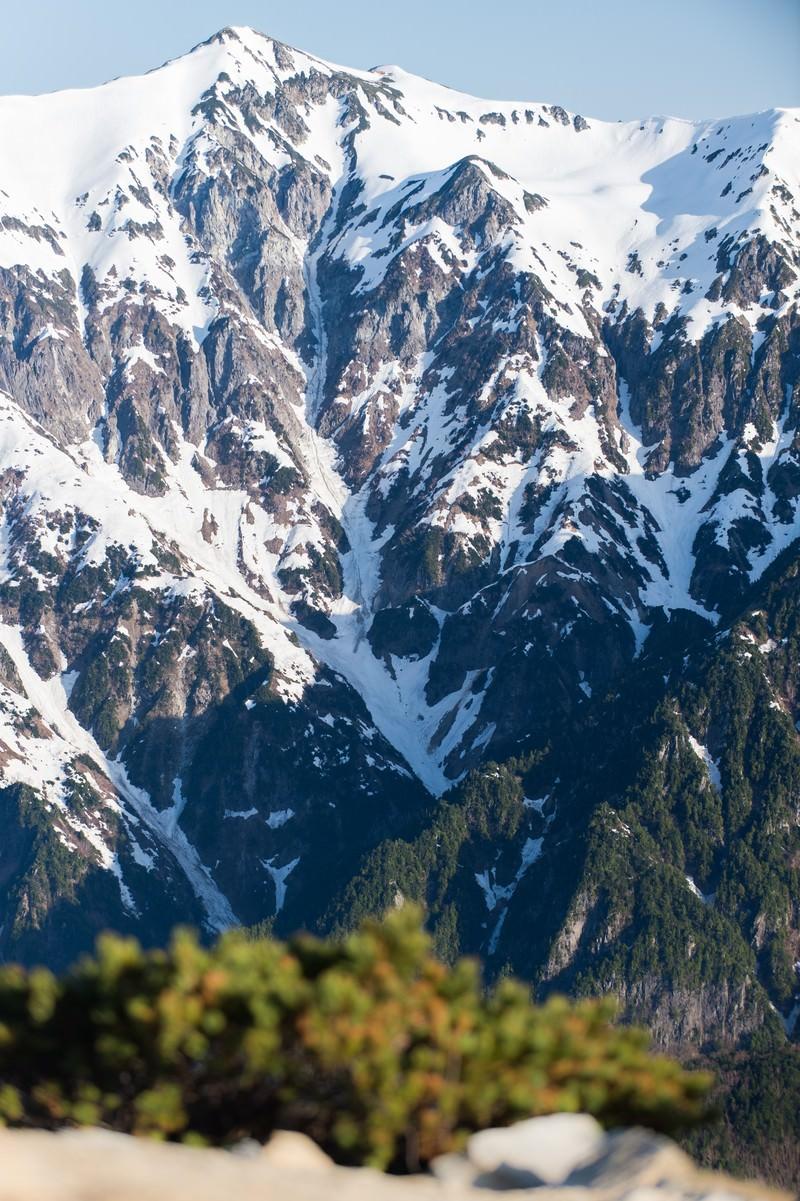 「春になっても山頂の雪深さがわかる笠ヶ岳」の写真