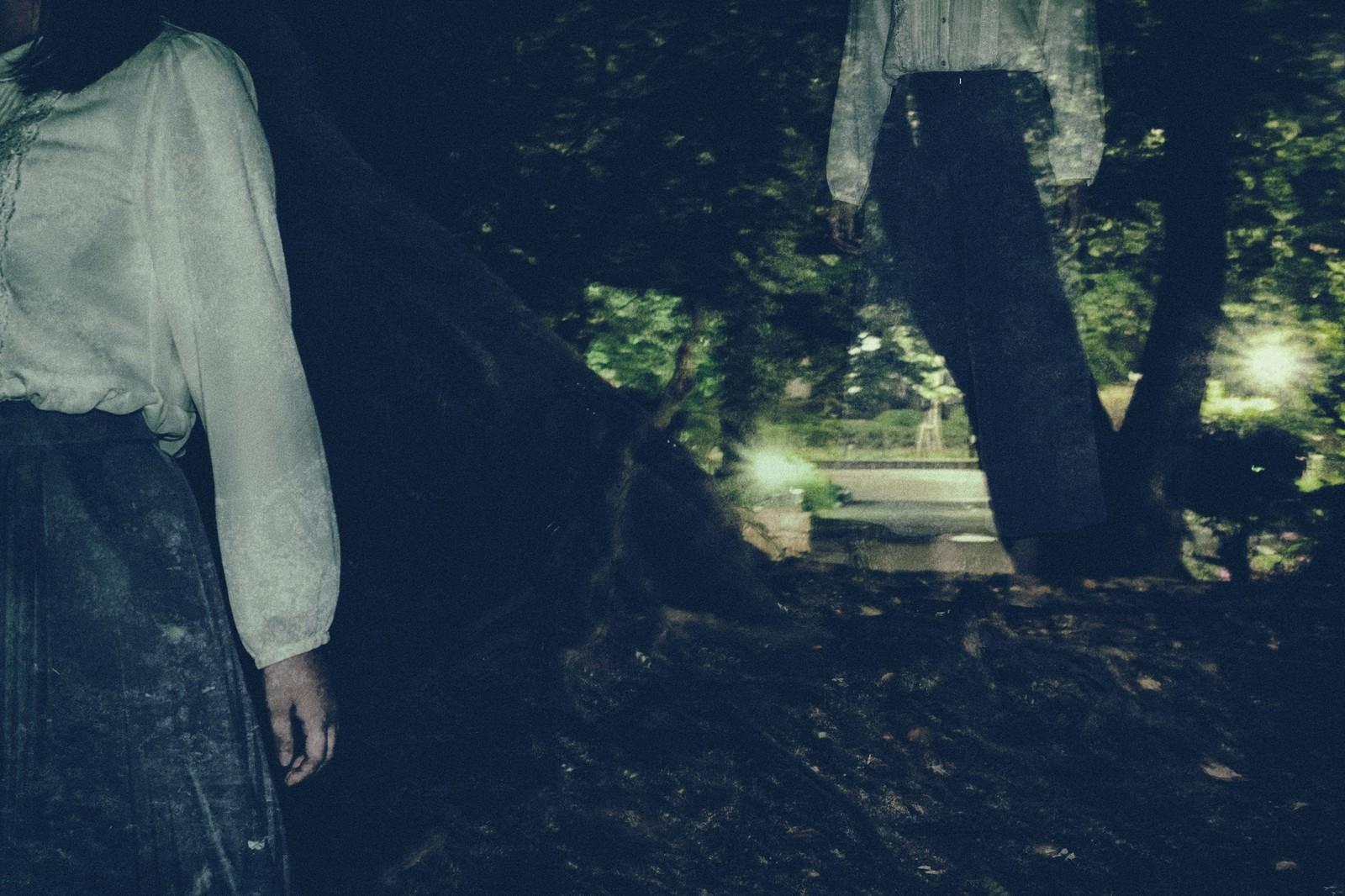 暗い森の中をさまよい続ける女性|ぱくたそフリー写真素材