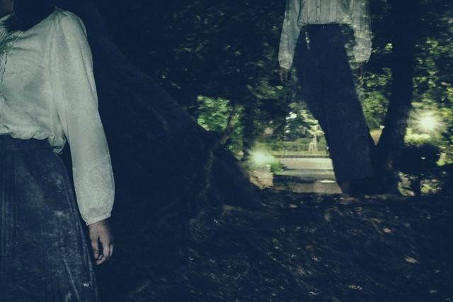 暗い森の中をさまよい続ける女性の写真