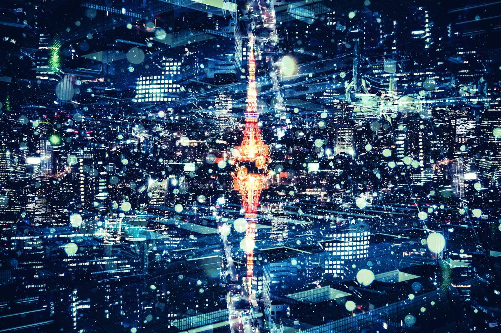 「東京タワーと都市夜景(フォトモンタージュ)」の写真