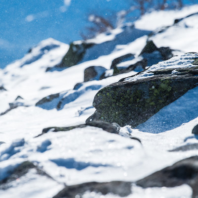 厳冬期の蓼科山(たてしなやま)の山頂の写真