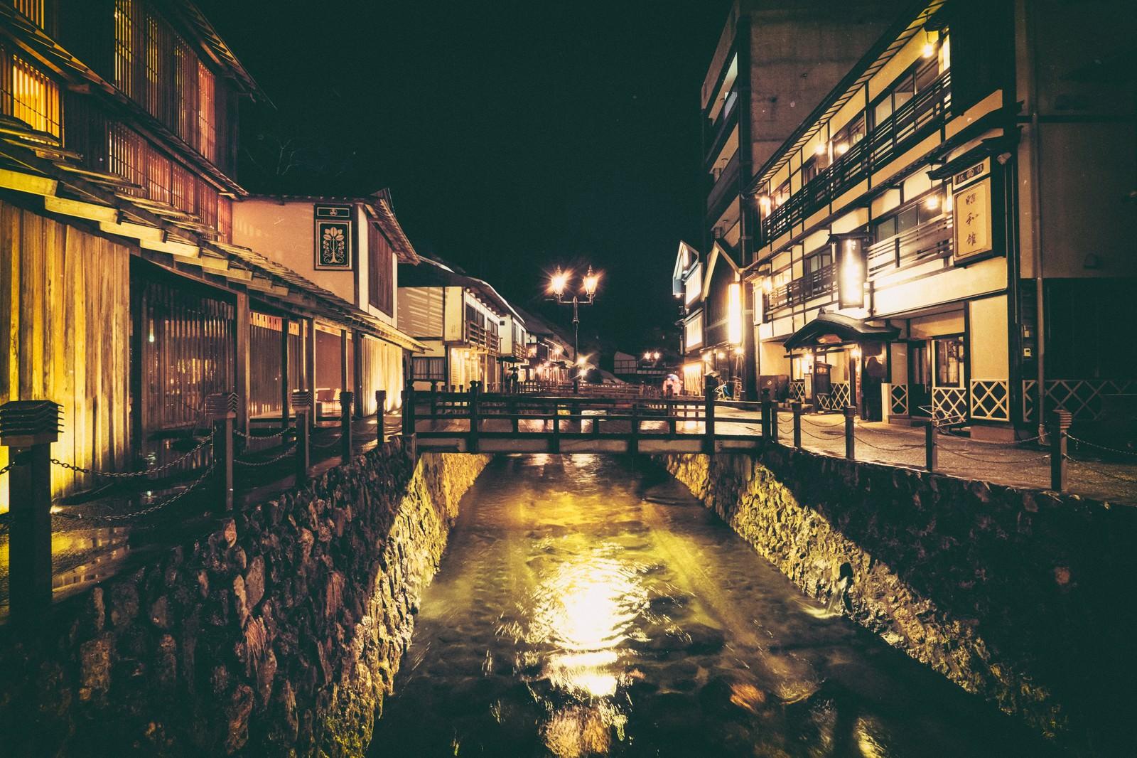 「銀山温泉街と中央に流れる銀山川(夜間)」の写真