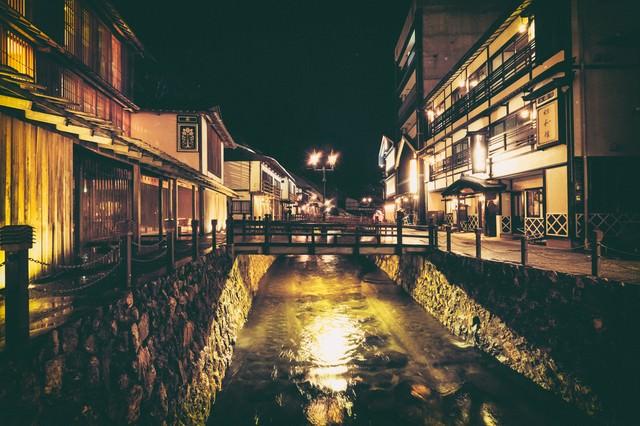 銀山温泉街と中央に流れる銀山川(夜間)の写真