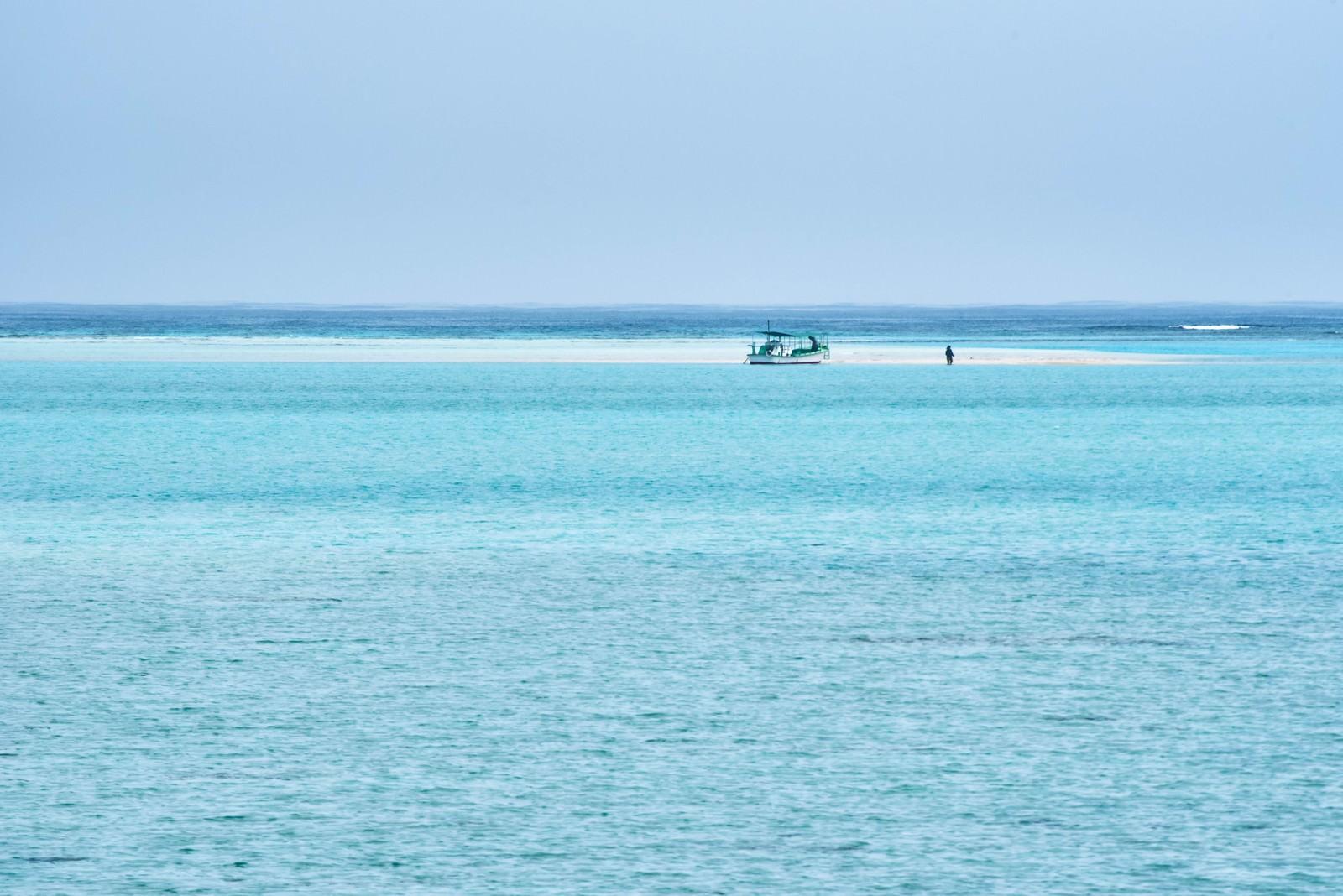 「干潮時だけに姿を現す幻の浜辺に上陸する船」の写真
