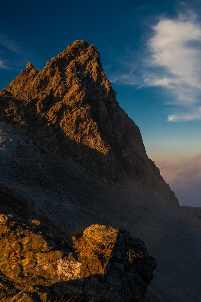 日本のマッターホルン槍ヶ岳の夕焼けの写真