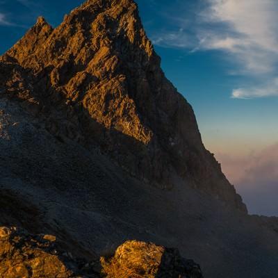「日本のマッターホルン槍ヶ岳の夕焼け」の写真素材