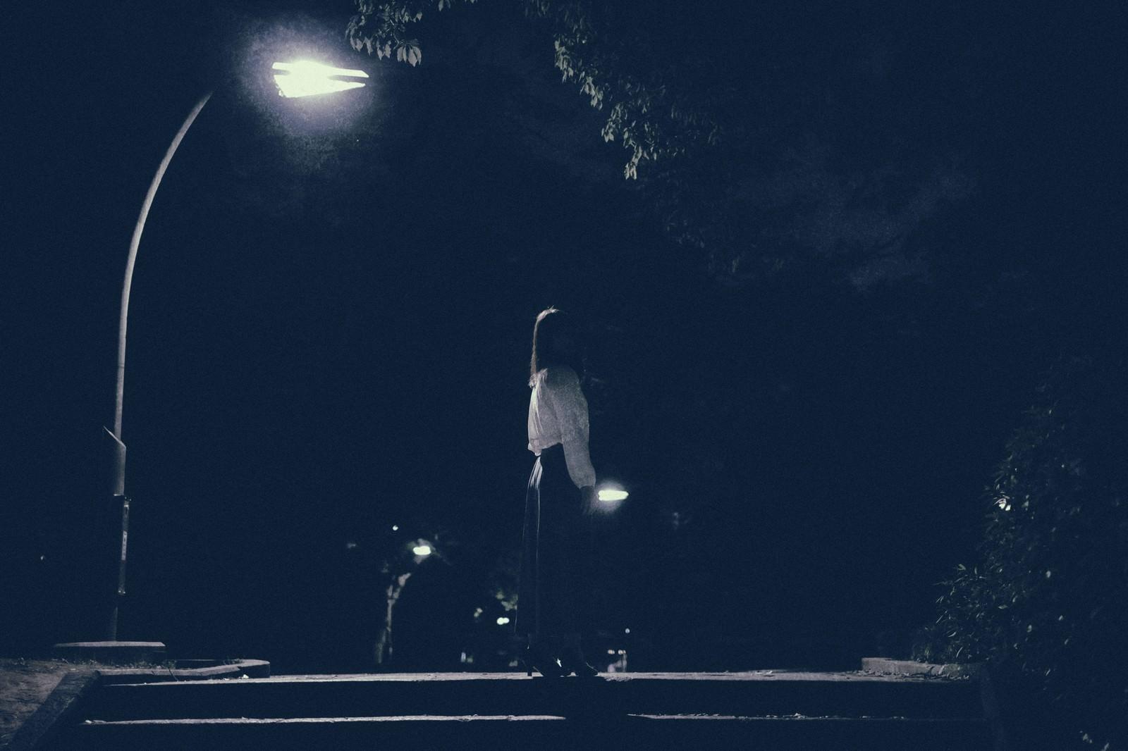 「深夜に徘徊する女性の後姿」の写真[モデル:さとうゆい]