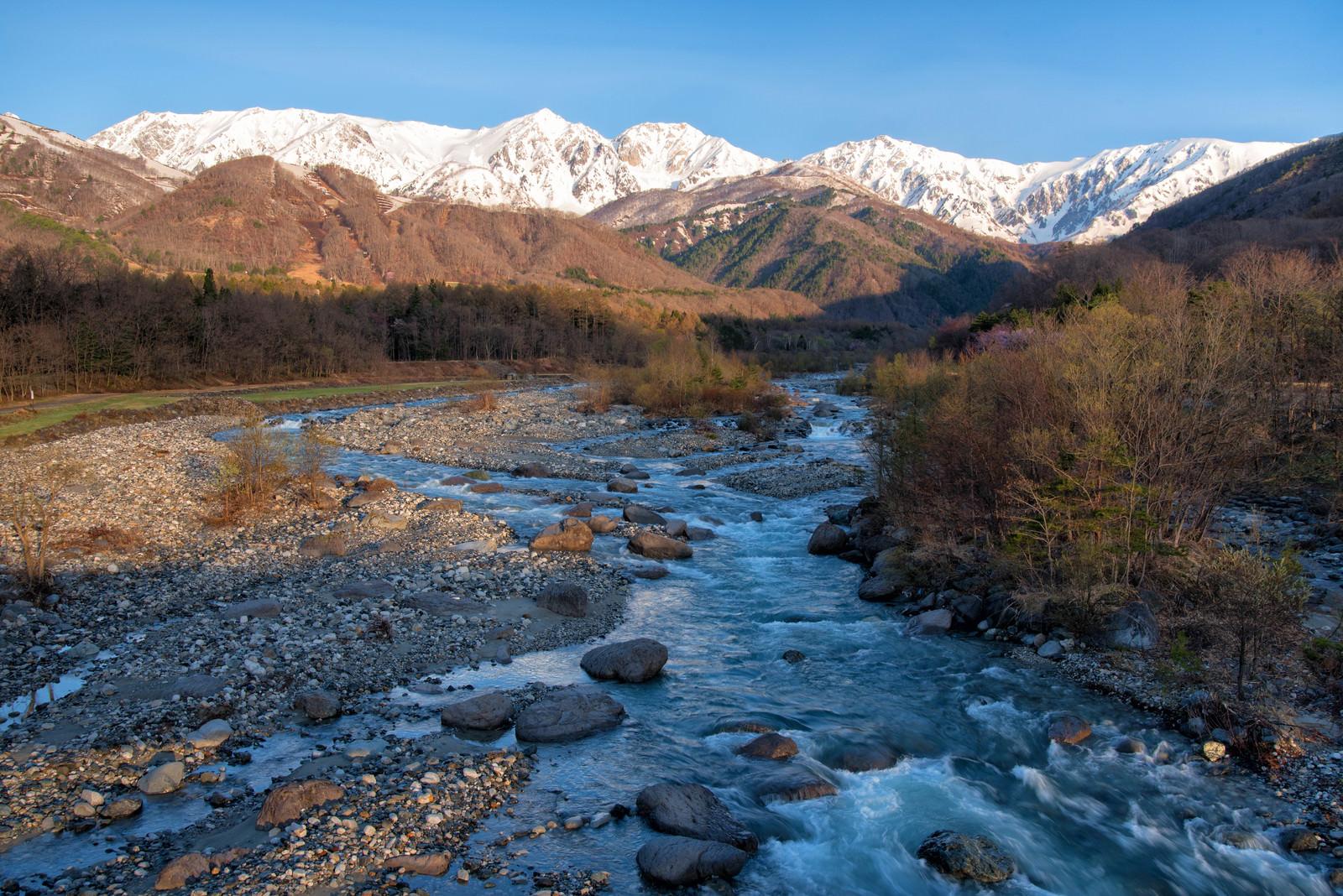 「松川と白馬三山」
