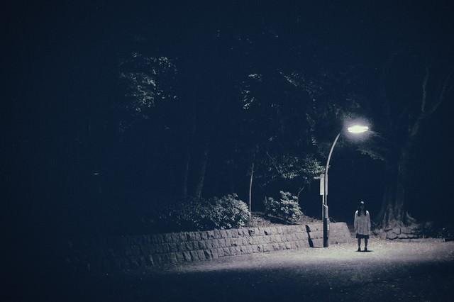 実際にあった怖い話系に使いやすい。街灯下の女性の写真