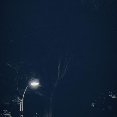 「街灯下の女」の写真素材
