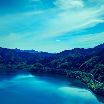 「鏡野ブルー(奥津湖)」の写真素材