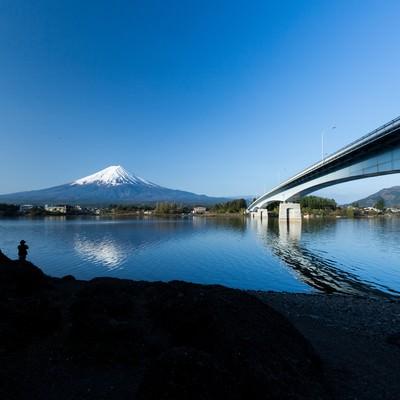 河口湖と富士山の写真