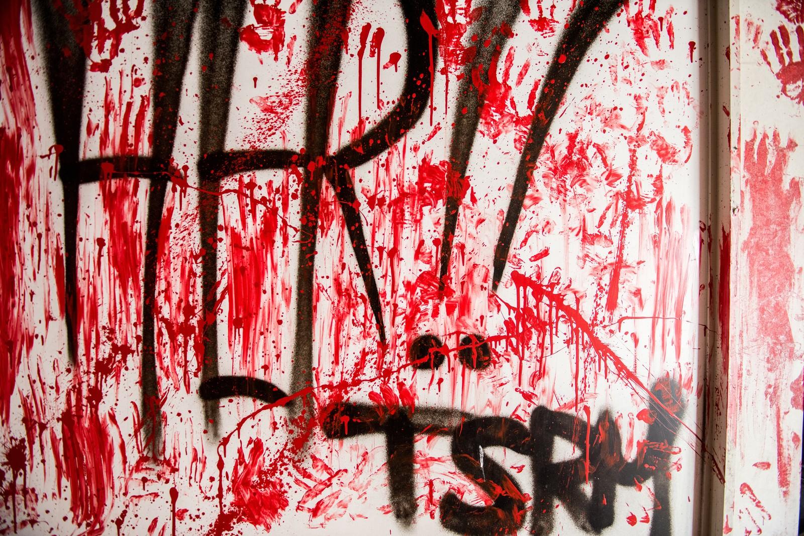 「血塗りの壁」の写真