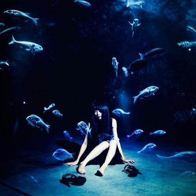 喧噪を離れ魚になりたい(フォトモンタージュ)の写真
