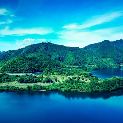 「浮島(鏡野町奥津湖)」の写真素材