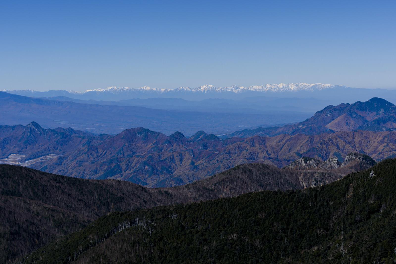 「甲武信ヶ岳から見る南アルプスの稜線」の写真