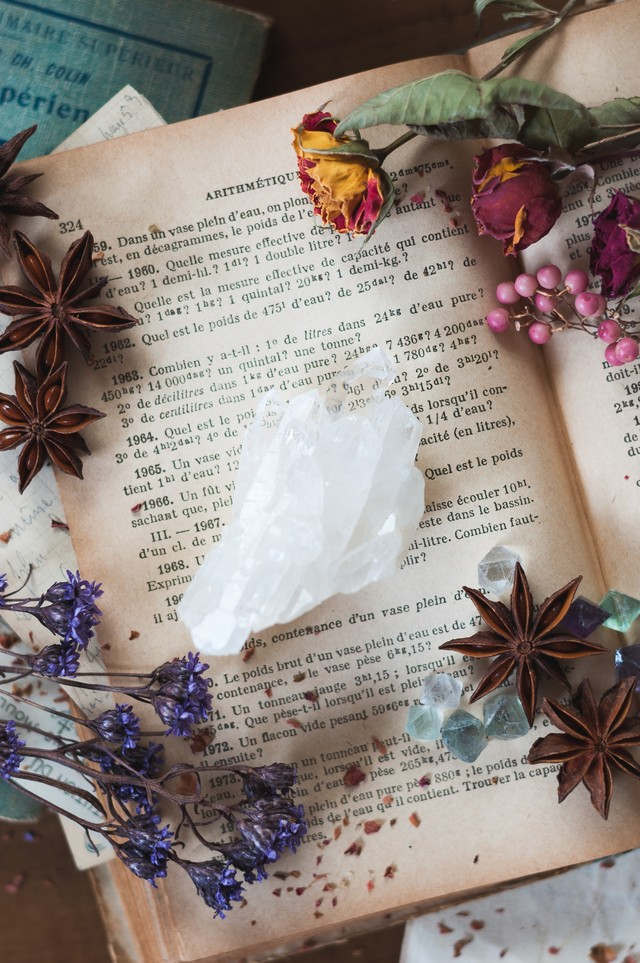 水晶とドライフラワーの写真