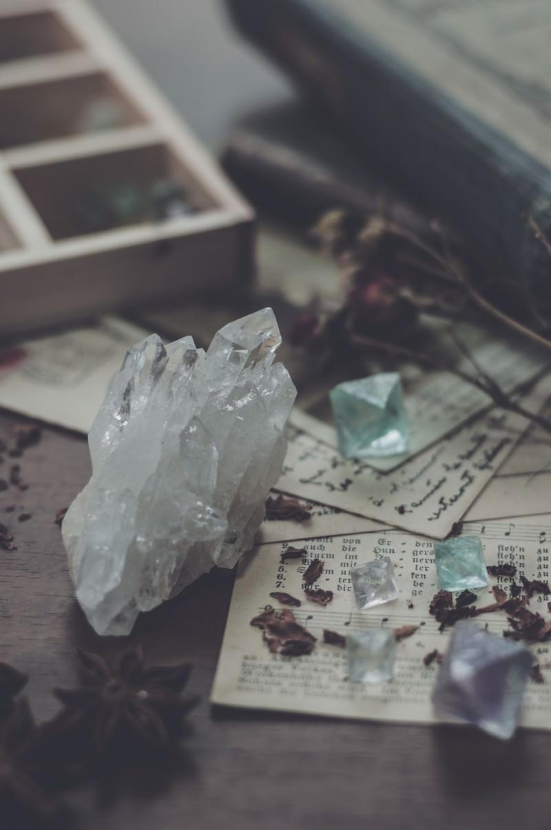 「水晶とフローライト」の写真
