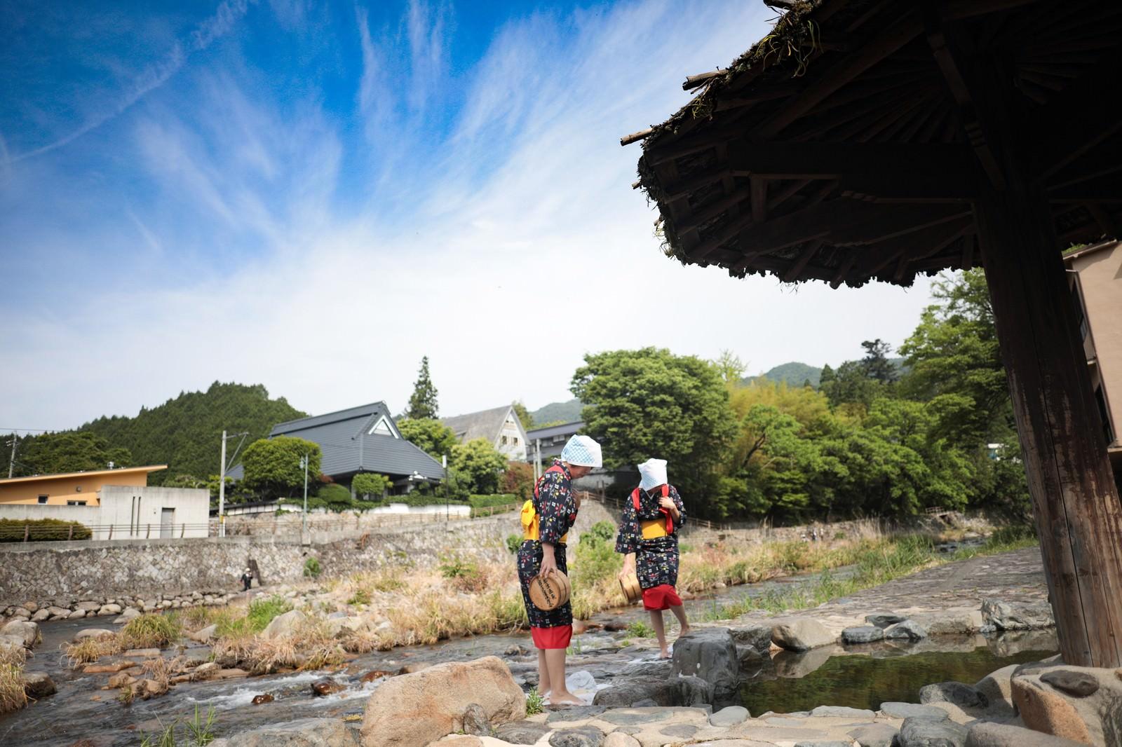 「奥津温泉名物、足踏み洗濯(鏡野町)」の写真