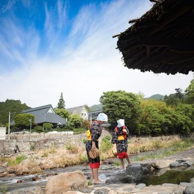 「奥津温泉名物、足踏み洗濯(鏡野町)」の写真素材