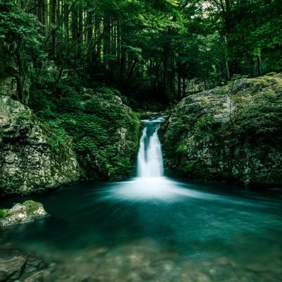 小さな滝がある渓谷の写真
