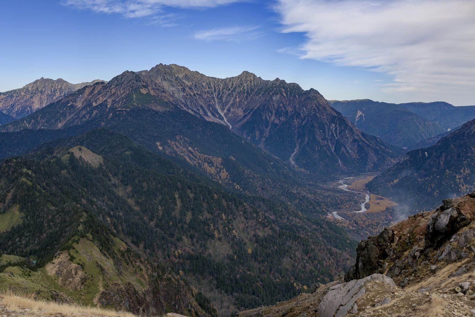 「焼岳から見る穂高と上高地方面」の写真