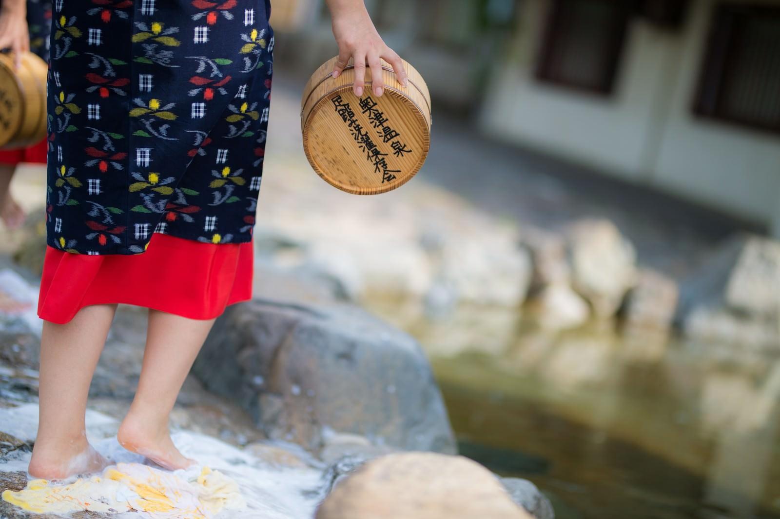 「鏡野町奥津地区に伝承される足踏み洗濯」の写真