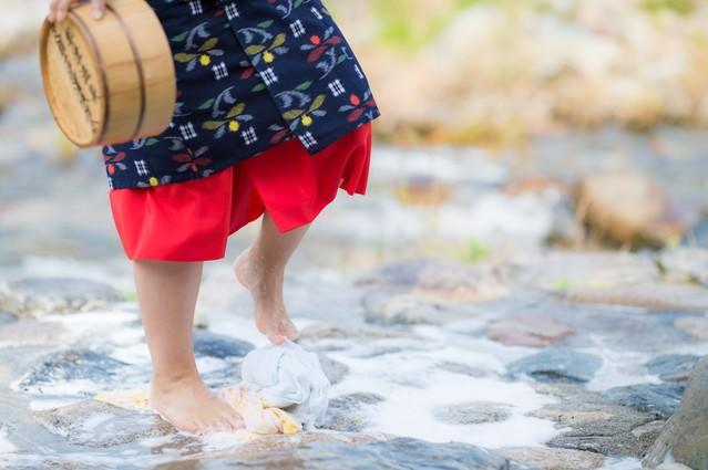 鏡野町の足踏み洗濯の様子(足元)の写真