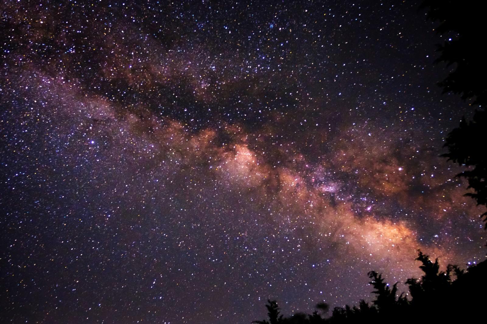 「満天の星空の下で撮影」の写真