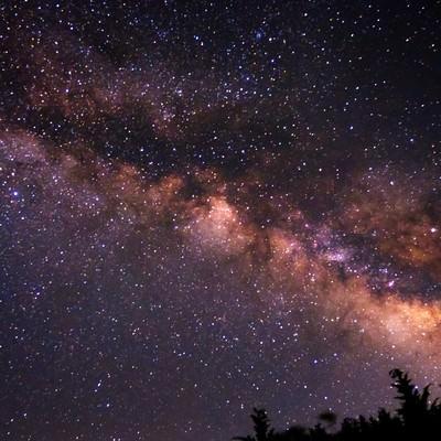 「満点の星空の下で撮影」の写真素材