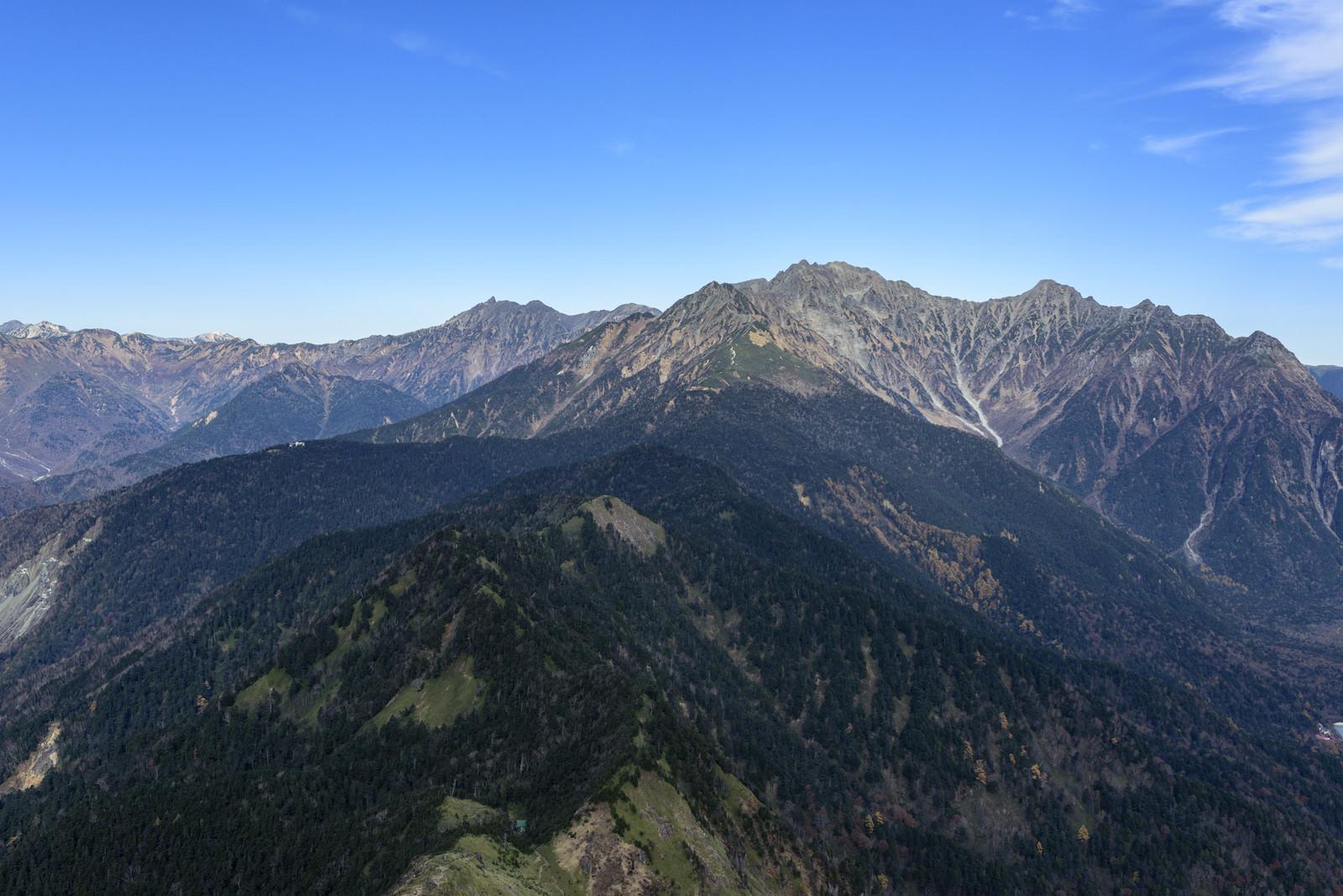 「西穂高から槍ヶ岳までの稜線」の写真