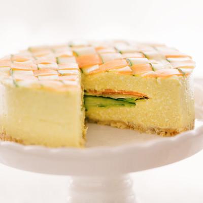 「食べ応えのある野菜のベジデコケーキ」の写真素材