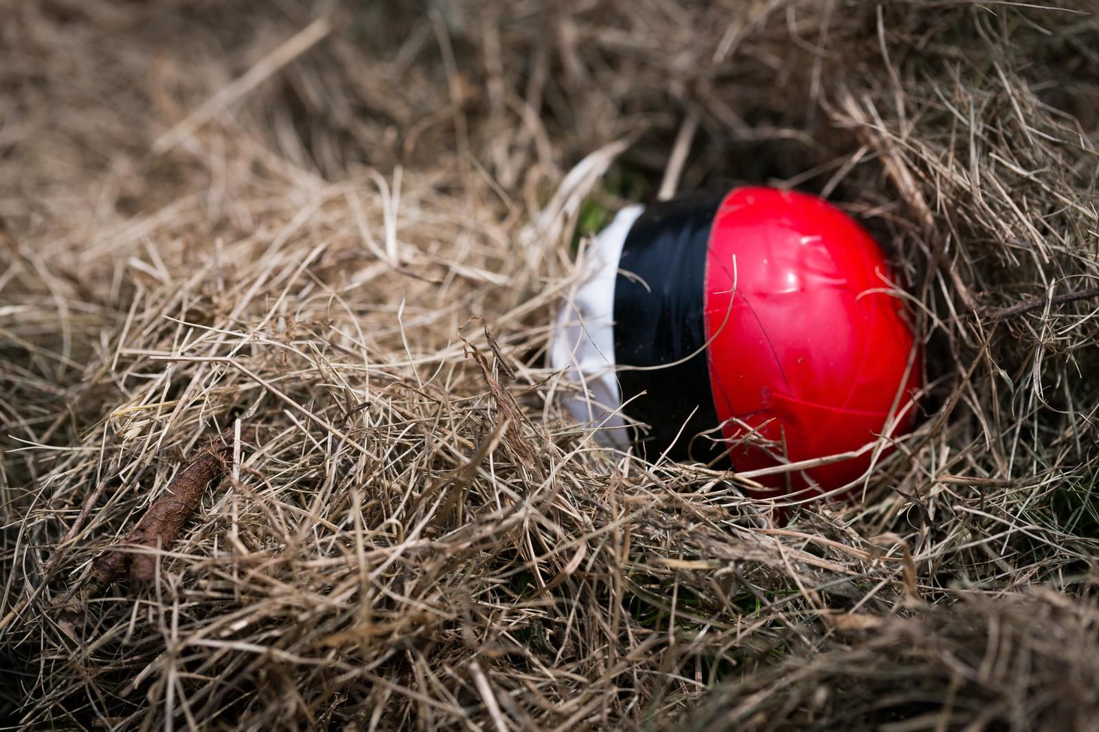 「延期と騒がれ、なかなか姿をあらわさない紅白ボール」の写真