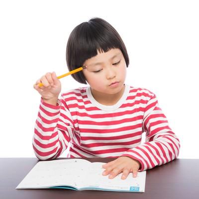 「勉強する女の子」の写真素材