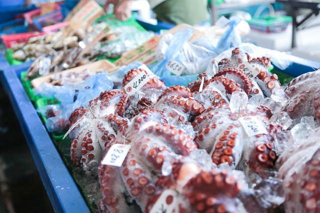 朝市の真蛸(海産物)の写真