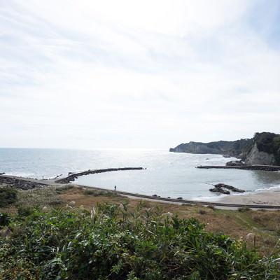 「小浜城跡から一望できる海岸」の写真素材