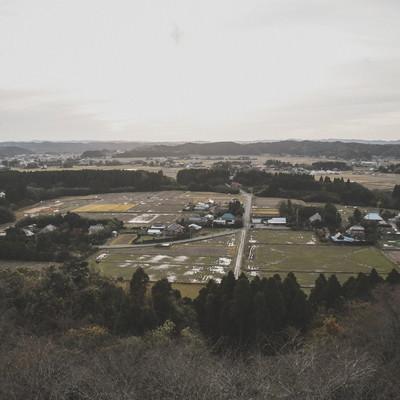 「高台から眺めるいすみ市の風景」の写真素材